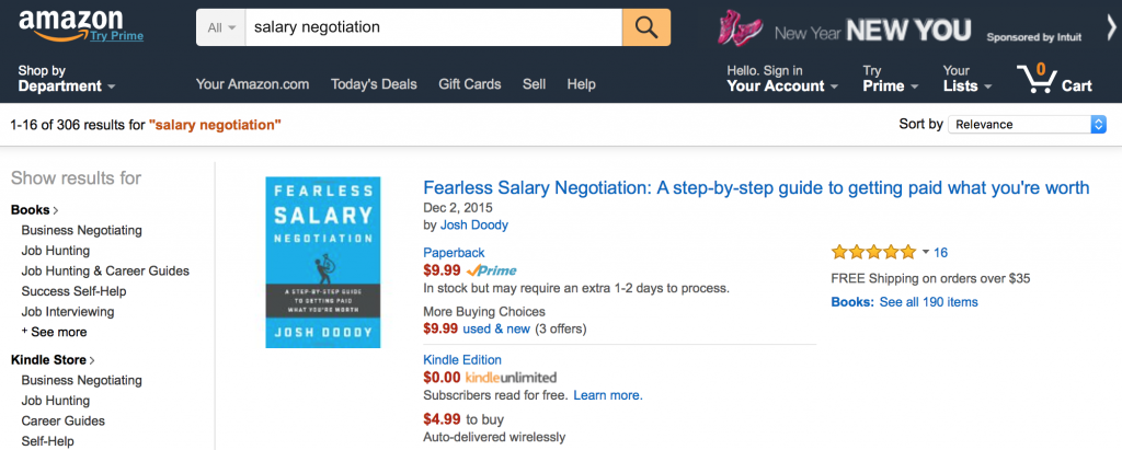 Amazon search for Salary Negotiation