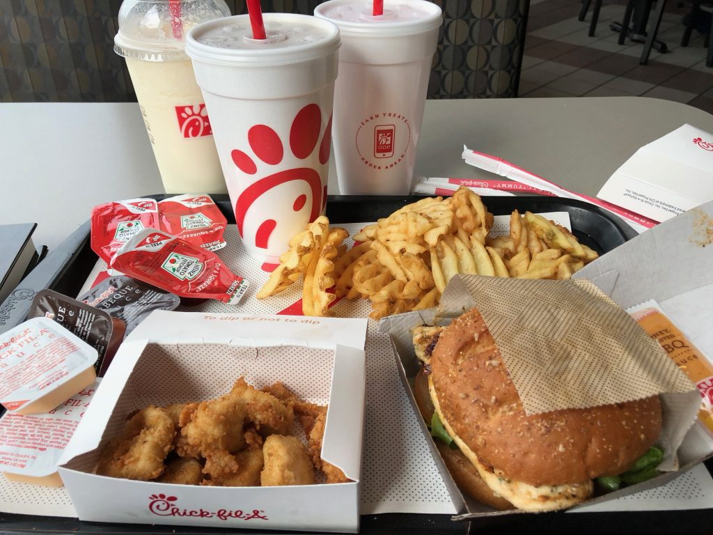 My post-race meal at Chick-Fil-A