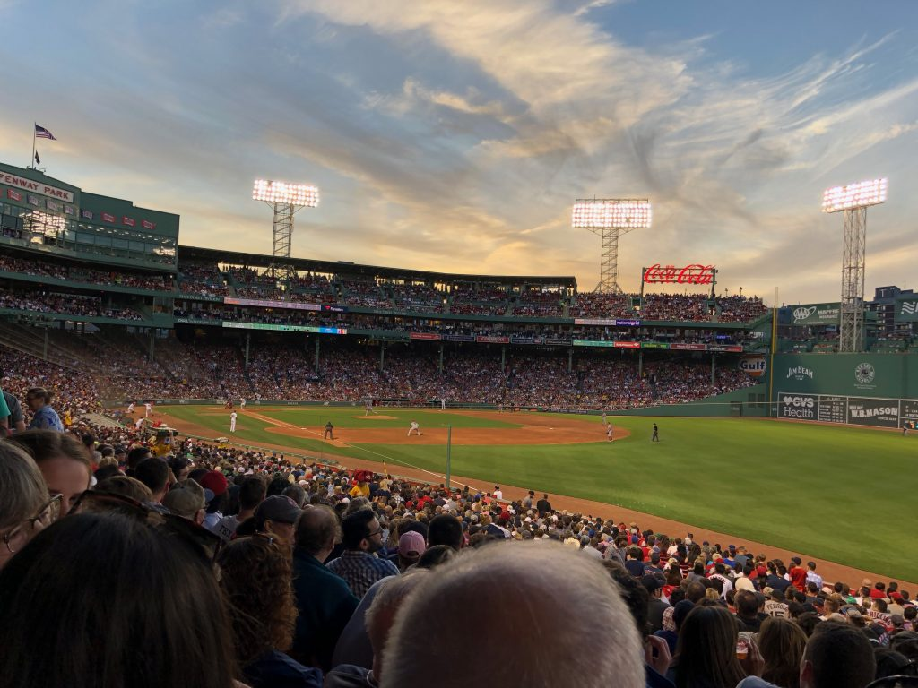 Red Sox game at dusk
