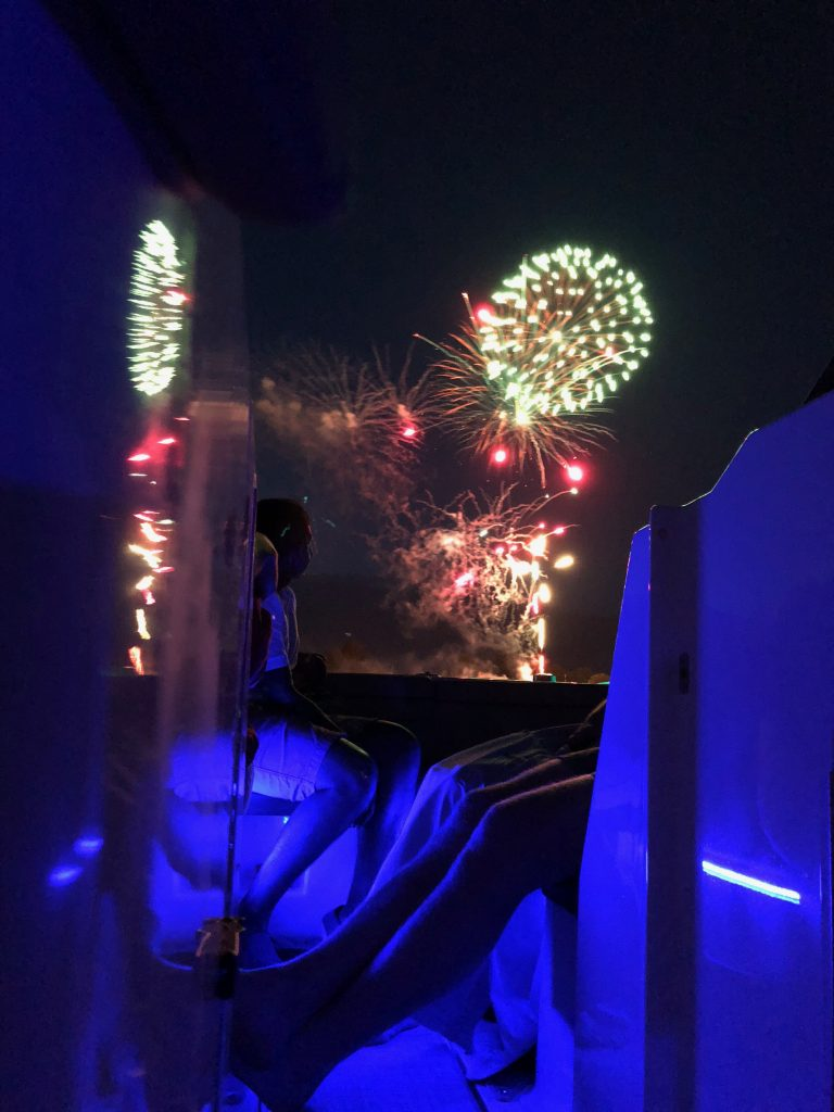 Fireworks on a boat