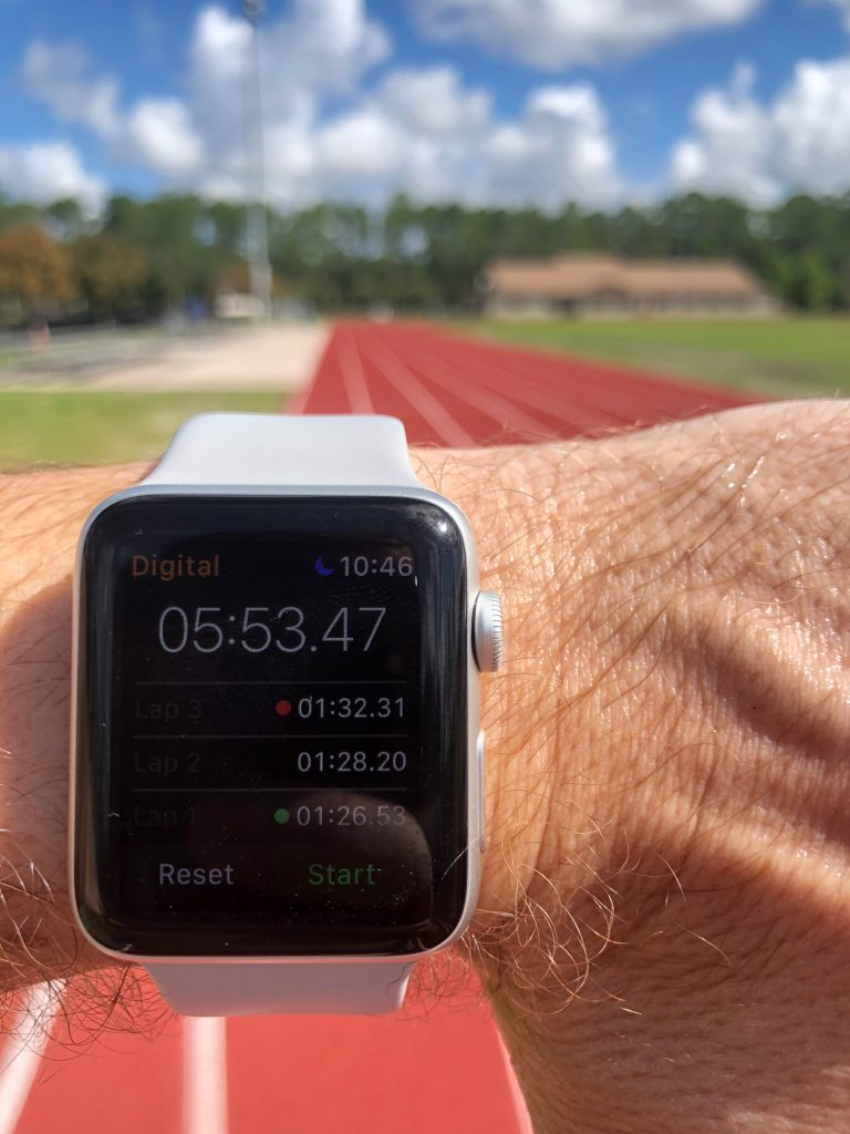 My six-minute mile time with 400m splits