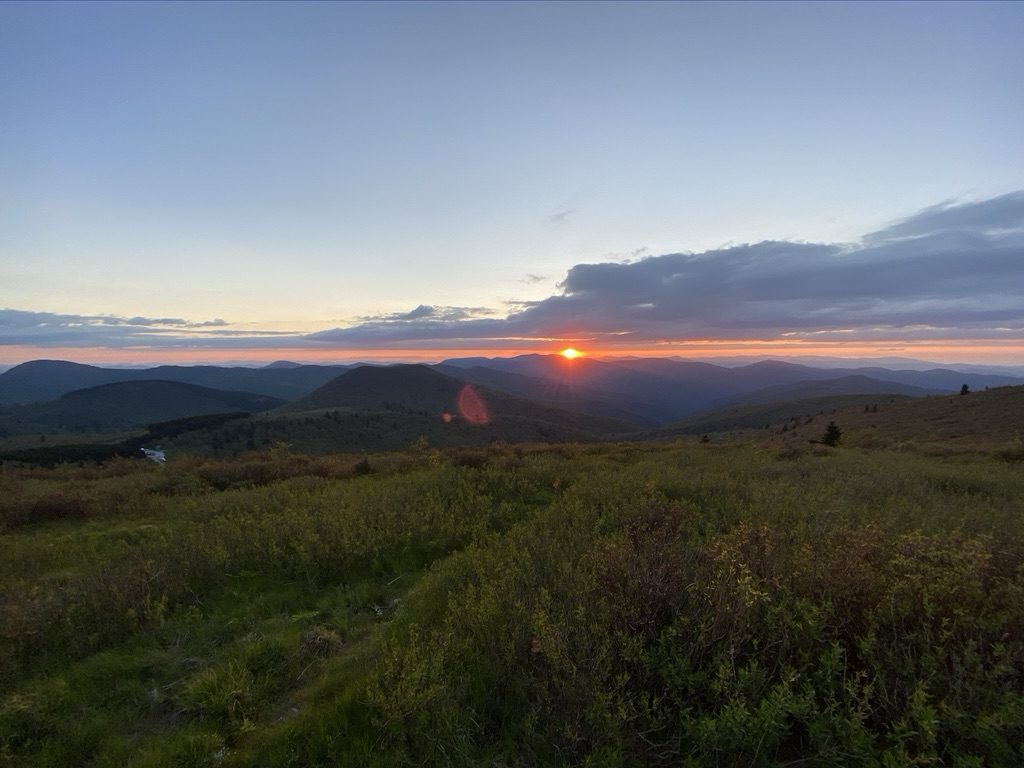 Sunset on Black Balsam Knob in North Carolina